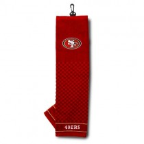 Team Golf NFL San Francisco 49ers Embroidered Golf Towel, Checkered Scrubber Design, Embroidered Logo