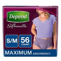 Depend Silhouette Incontinence Underwear for Women, Maximum Absorbency, S/M, Purple, 56 Count