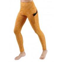 ODODOS High Waist Out Pocket Yoga Pants Tummy Control Workout Running 4 Way Stretch Yoga Leggings,SpaceDyeMustard,Small