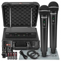 "Samson Stage 200 - Dual-Channel Handheld VHF Wireless System (Channel D) W/ Deluxe Accessory Bundle and Hard Equipment Case + 2 X ??"" Cables + XLR Cable + FiberTique Cleaning Cloth"