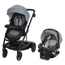 Graco Uno2Duo Travel System | Includes UNO2DUO Stroller and SnugRide SnugLock35 Infant Car Seat, Goes from Single to Double Stroller, Hazel (Pink Lining)
