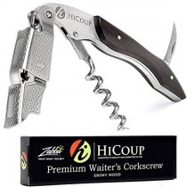 Waiters Corkscrew by HiCoup - Professional Ebony Wood All-in-one Corkscrew, Bottle Opener and Foil Cutter, the Favoured Wine Opener of Sommeliers, Waiters and Bartenders
