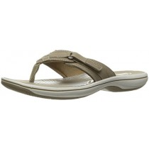 Clarks Women's Breeze Sea Flip Flop, Taupe, 12 B(M) US