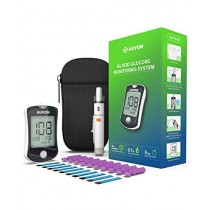 AUVON DS-W Blood Sugar Kit (No Coding Required), 2nd Gen High-Tech GDH Diabetes Blood Glucose Meter with 10 Test Strips, 10 30G Lancets, Lancing Device and Hard Case