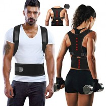 Magnetic Back Support for Posture Corrector with 10 Magnets and Adjustable Straps and Breathable Mesh Panels (Black, M)
