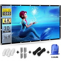 Efnik 7 Projector Screen 120 inch 16:9 HD Foldable Anti-Crease Portable Projecion Screen for Home Theater Support Double Sided Projection and Halloween day Party decoration 2019