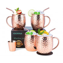Moscow Mule Copper Mugs, esonmus Set of 4 Handcrafted Copper Mugs for Moscow Mule Cocktail, Food Safe Mule Mugs 16 oz Gift Set with Bonus 1 Jigger 4 Straws 4 Coasters