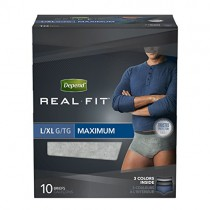 Depend Real Fit Incontinence Underwear for Men, Maximum Absorbency, L/XL, 4 Packs of 10, 40 Total