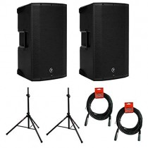 """Mackie Thump15A - 1300W 15"""" Powered Loudspeaker (Pair) with (2) Steel Speaker Stand and (2) XLR-XLR Cable"""