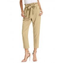 GRACE KARIN Slim High Waist Straight Leg Cropped Casual Pants with Pockets M Khaki