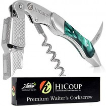 Professional Waiter's Corkscrew by HiCoup - Jade Resin Handle All-in-one Corkscrew, Bottle Opener and Foil Cutter, The Favored Choice of Sommeliers, Waiters and Bartenders Around The World