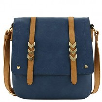 Double Compartment Large Flapover Crossbody Bag with Colorblock Straps Navy/Light Tan