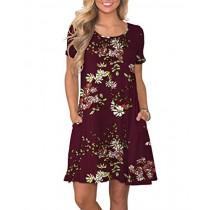 KORSIS Women's Summer Floral Dresses Short Sleeve Tunic T Shirt Swing Dresses Flower Wine Red 3XL