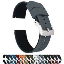 23mm Smoke Grey/Black Barton Elite Silicone Watch Bands - Quick Release - Choose Strap Color & Width