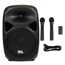 "Seismic Audio - RSG-15 - Powered 15"" PA Speaker Rechargeable with 2 Wireless Mics, Remote, Bluetooth, Easy Transport - Tailgate Karaoke Speaker"