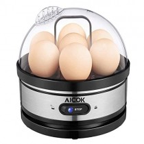 Egg cooker, AICOK Stainless Steel 7 Egg Capacity Rapid Egg Boiler with 2 BPA-Free Poachers & 2 Heating Modal, Electric Egg Steamer for Hard Boiled Eggs, Poached Eggs, Omelets, Auto Power Off