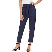 GRACE KARIN Women's Casual Loose High Waist Stretchy Skinny Slim Long Pants S Navy Blue