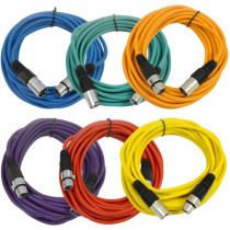 SEISMIC AUDIO - SAXLX-25-6 Pack of 25' Multiple Color XLR Male to XLR Female Microphone Cables - Balanced - 25 Foot Patch Cords