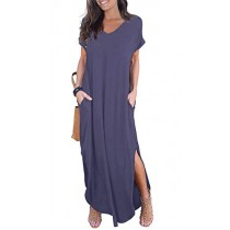 GRECERELLE Womens Casual V Neck Side Split Beach Dresses Long Maxi Dress Purple Gray-M