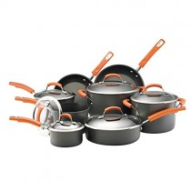 Rachael Ray Hard-Anodized Nonstick 14-Piece Cookware Set, Gray with Orange Handles - 87000