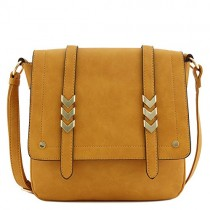Double Compartment Large Flapover Crossbody Bag (Mustard)