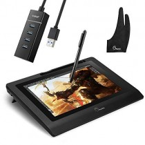 """Parblo Coast10 10.1"""" Digital Pen Tablet Display Drawing Monitor 10.1 Inch with Cordless and Battery-Free Pen+ 4ports USB3.0 Hub+ Glove"""
