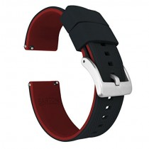 24mm Black/Crimson Red - Barton Elite Silicone Watch Bands - Quick Release - Choose Strap Color & Width