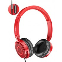 On Ear Headphones with Mic, Vogek Lightweight Portable Fold-Flat Stereo Bass Headphones with 1.5M Tangle Free Cord and Microphone-Red