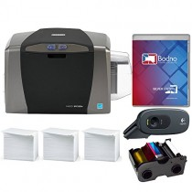 Fargo DTC1250e ID Card Printer & Complete Supplies Package with Silver Edition Bodno ID Software