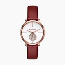 Michael Kors Women's Portia Watch Stainless Steel Analog-Quartz Leather Calfskin Strap, red, 16 (Model: MK2711)