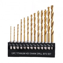 "COMOWARE Titanium Twist Drill Bit Set - 13 Pcs Hex Shank High Speed Steel for Wood Plastic Aluminum Alloy, Quick Change, 1/16""-1/4"""
