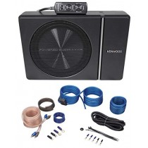 "Kenwood KSC-PSW8 8"" 250w Slim Under-Seat Powered Car/Truck Subwoofer + Wire Kit"