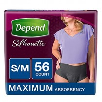 Depend Silhouette Incontinence Underwear for Women, Maximum Absorbency, S/M, Black, 56 Count