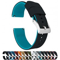 24mm Black/Aqua Blue - Barton Elite Silicone Watch Bands - Quick Release - Choose Strap Color & Width