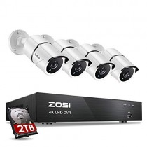 ZOSI 4K Ultra HD Security Cameras System, 8 Channel H.265+ 4K (3840x2160) Video DVR with 2TB Hard Drive and 4 x 4K (8MP) Ip67 Bullet Weatherproof Surveillance Cameras