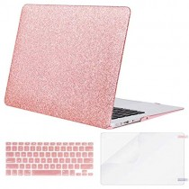 MOSISO Plastic Hard Case & Keyboard Cover & Screen Protector Only Compatible MacBook Air 13 Inch (Models: A1369 & A1466, Older Version 2010-2017 Release), Shining Rose Golden