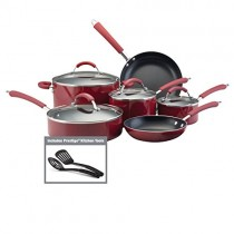 Farberware 10573 Millennium Porcelain Nonstick Cookware Set, 12-Piece, Red