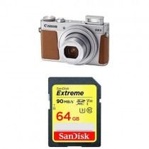 Canon PowerShot G9 X Mark II Compact Digital Camera w/ 1 Inch Sensor and 3inch LCD  (Silver) and SanDisk 64GB UHS-I Card