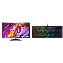 "Sceptre C248W-1920R 24"" Curved 75Hz Gaming LED Monitor Full HD 1080P HDMI DisplayPort VGA Speakers Ultra Thin Metal Black & Razer Cynosa Chroma Gaming Keyboard"