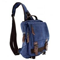 Jiao Miao Canvas Shoulder Backpack Travel Rucksack Sling Bag Cross Body Messenger Bag,180308-Blue
