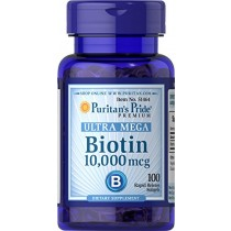 Puritans Pride Biotin 10000 Mcg Softgels, 100 Count
