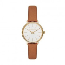 Michael Kors Women's Pyper Stainless Steel Quartz Watch with Leather Strap,Gold/Brown/White, 14