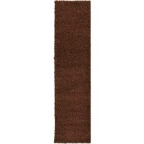 Unique Loom Solo Solid Shag Collection Modern Plush Chocolate Brown Runner Rug (2' 6 x 10' 0)