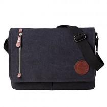 """Vintage Canvas Satchel Messenger Bag for Men Women,Travel Shoulder bag 13.5"""" Laptop Bags Bookbag (Black)"""