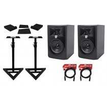"(2) JBL 305P MkII 5"" Powered Studio Reference Monitors+Stands+Pads+XLR Cables"