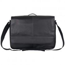 Kenneth Cole Reaction Risky Business Full-Grain Colombian Leather Crossbody Flapover Messenger Bag, Black