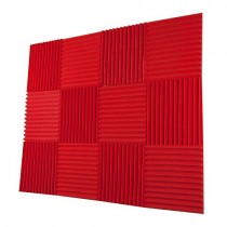 "Foamily 12 Pack- All Red Acoustic Panels Studio Foam Wedges 1"" X 12"" X 12"""
