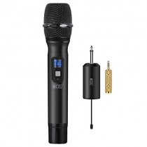 "TONOR Wireless Microphone Metal Handheld Mic UHF 25 Channel with Mini Receiver 1/4"" Output for Stage/Church/Karaoke/Party/Business Meeting/PA Systems, Black"
