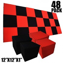 "48 Pack Black/red 12""X 12""X1"" Acoustic Panels Studio Soundproofing Foam Wedge Tiles,"