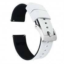 23mm White/Black - Barton Elite Silicone Watch Bands - Quick Release - Choose Strap Color & Width